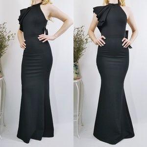 Margaux Black One-Shoulder Ruffle Maxi Dress